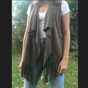 Faux suede Green Vest with Fringe